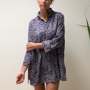 VINTAGE Indian quilted flower print long shirt